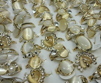 10pcs New Hot !! Wholesale Jewelry ring lots Natural Cat eye stone Rhinestones Women Girls Gold Rings LB290