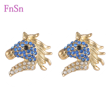 New 2017 Hot Summer Earrings Trendy Horse Stud Earrings For Women Fill Crystal Colorful Rose Gold Color Animal Jewelry Gift FnSn