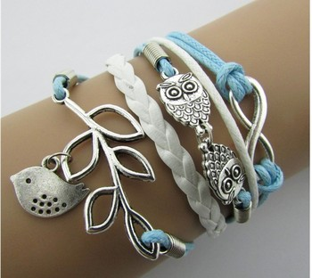 Fashion Jewelry Vintage Braided Anchors Rudder Metal Leather Bracelet Multilayer Rope Bracelets Wrap Brac KQS