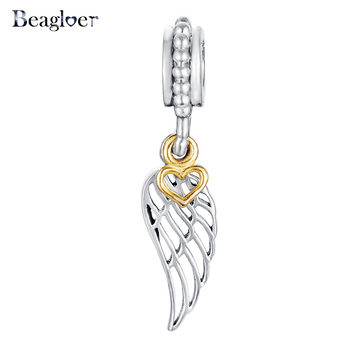 925 Sterling Silver Angel Wing Pendant & Charm Fit Handmade Bracelet with Glimmering Gold Color Heart Two-Tone Dangle PSMB0307