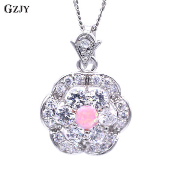 GZJY New Fashion White&Pink Fire Opal Cubic Zirconia Wedding Jewelry For Women White Gold Color Flower Pendant Necklace H02-2