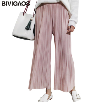 2017 New Spring Summer Womens Fashion Thin Chiffon Wide Leg Pants Pleated Elastic High Waist Cropped Trousers Casual Loose Pants
