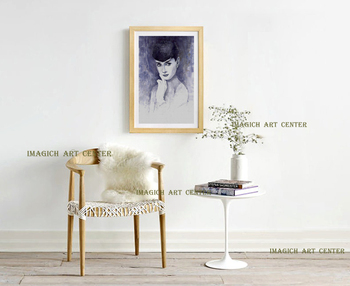Portrait canvas painting figure print watercolor masterpiece giant poster prints on canvas film star Audrey Hepburn beauty art