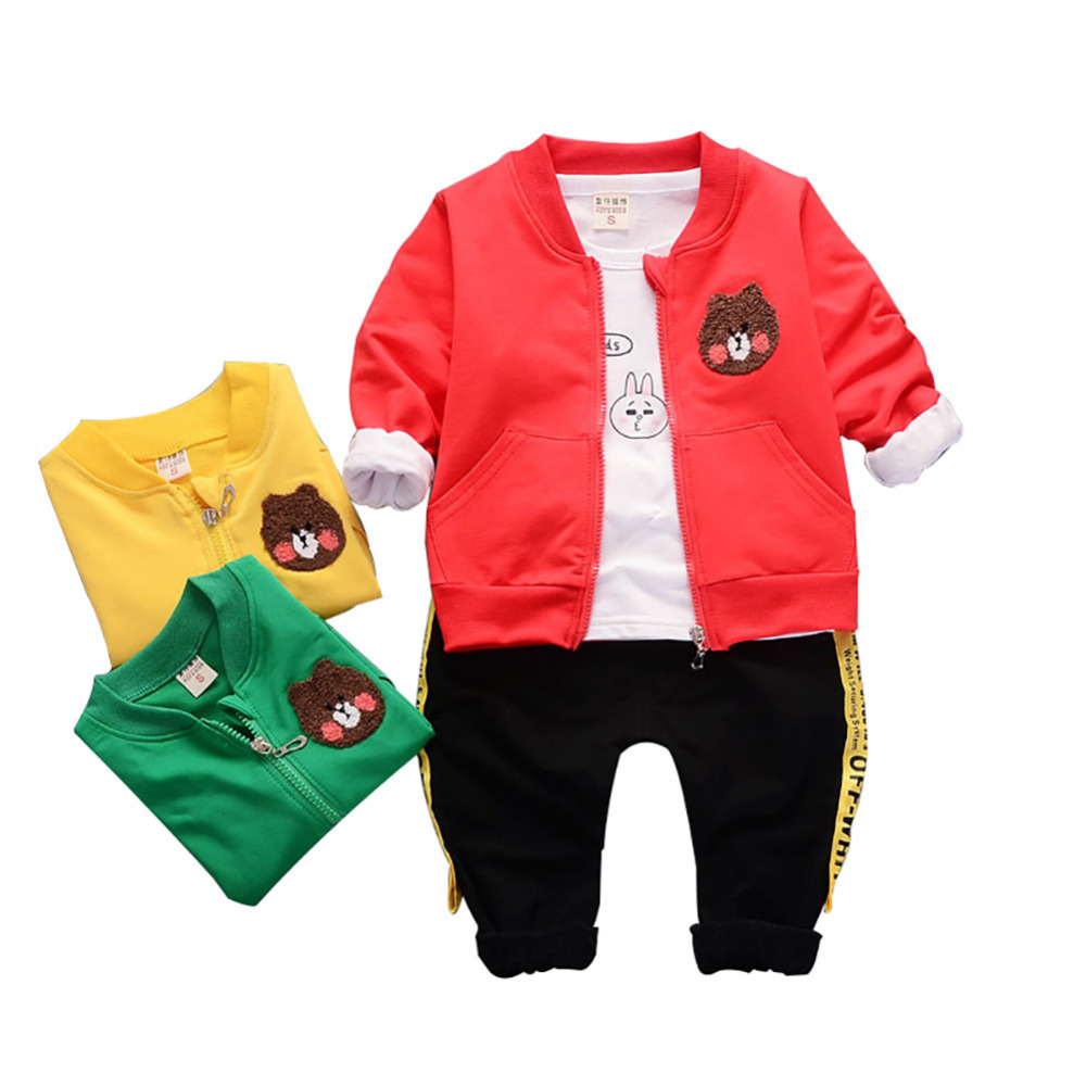 New Fashion 3pcs Baby Boys Cartoon Clothes set T-shirt +Coat+Trousers Autumn Children Suit Animal Pattern Red Green Yellow
