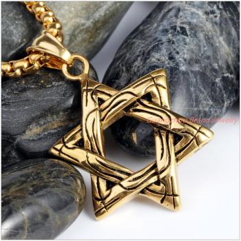 30*30mm 10g Newest Price Fashion 316L Stainless Steel Gold Color David Of Star Mens Pendant Necklace Rolo Chain As Picture